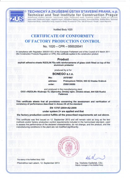 CERTIFICATE OF CONFORMITY OF FACTORY PRODUCTION CONTROL_RIZOLIN_BONEGO